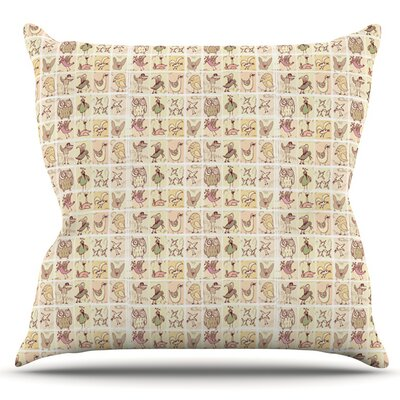 Cute Birds by Marianna Tankelevich Outdoor Throw Pillow Color: Tan