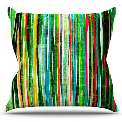 Fancy Stripes by Frederic Levy-Hadida Outdoor Throw Pillow Color: Green
