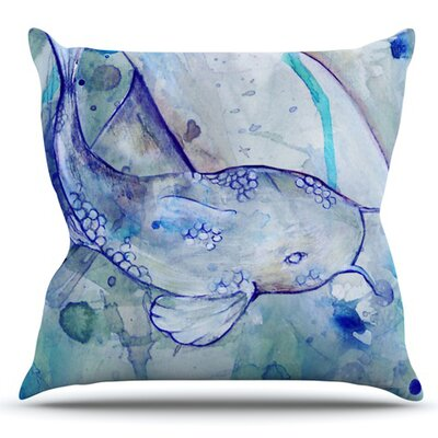 Koi Playing by Kira Crees Outdoor Throw Pillow