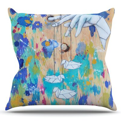 Origami Strings by Kira Crees Outdoor Throw Pillow