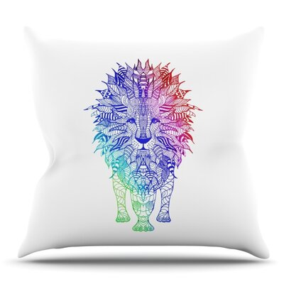 Rainbow Lion by Monika Strigel Outdoor Throw Pillow