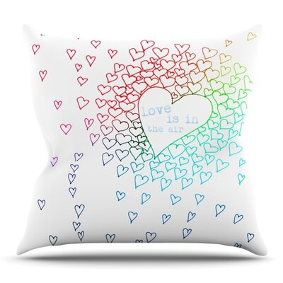 Rainbow Hearts by Monika Strigel Outdoor Throw Pillow