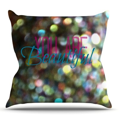You Are Beautiful II by Robin Dickinson Outdoor Throw Pillow
