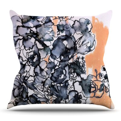 Inky Bouquet by Sonal Nathwani Outdoor Throw Pillow
