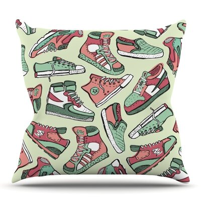 Sneaker Lover by Brienne Jepkema Outdoor Throw Pillow Color: Red/Green