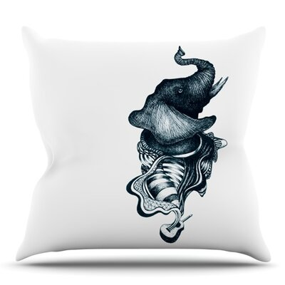 Elephant Guitar by Graham Curran Outdoor Throw Pillow Color: Blue