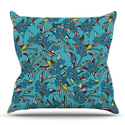 Paper Leaf by Michelle Drew Outdoor Throw Pillow Color: Blue
