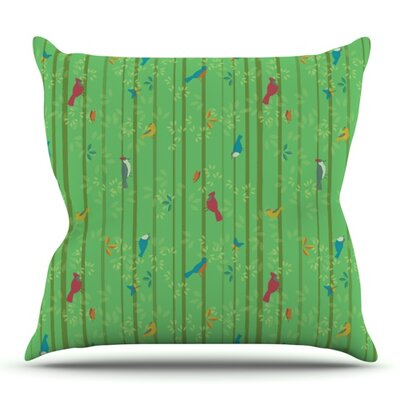 Hello Birdies by Allison Beilke Outdoor Throw Pillow