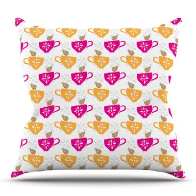 Tea-Birds by Apple Kaur Designs Outdoor Throw Pillow