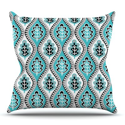 Oak Leaf by Jacqueline Milton Outdoor Throw Pillow Color: Turquoise
