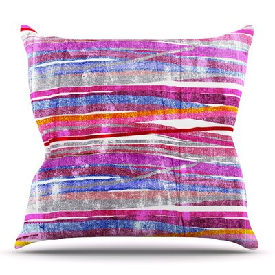 Fancy Stripes by Frederic Levy-Hadida Outdoor Throw Pillow Color: Pink