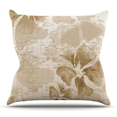 Flower Power by Catherine Holcombe Outdoor Throw Pillow Color: Tan