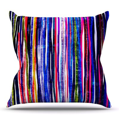Fancy Stripes by Frederic Levy-Hadida Outdoor Throw Pillow Color: Purple