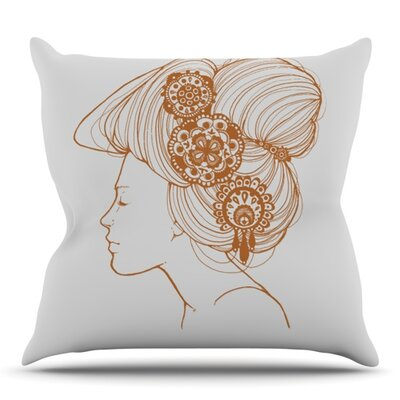 Organic by Jennie Penny Outdoor Throw Pillow Color: White/Orange