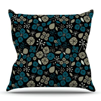 Leaf Scatters Midnight by Allison Beilke Outdoor Throw Pillow