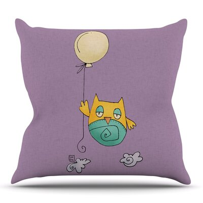 Lechuzita en Ballon by Carina Povarchik Outdoor Throw Pillow