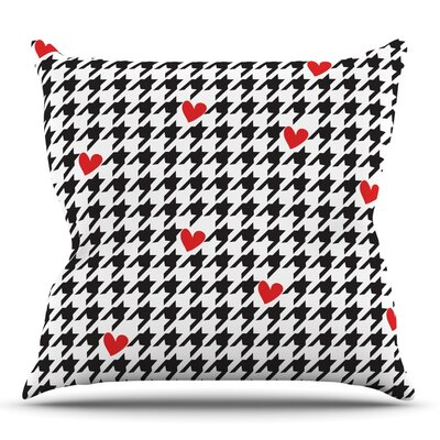 Spacey Houndstooth Heart by Empire Ruhl Outdoor Throw Pillow