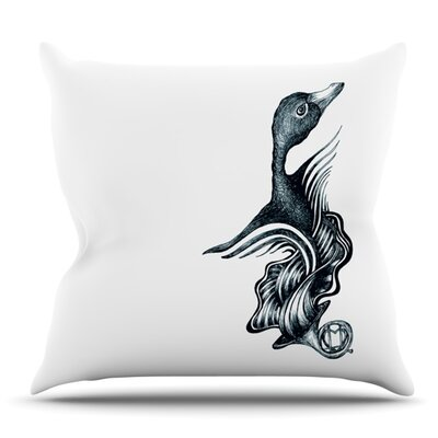 Swan Horns by Graham Curran Outdoor Throw Pillow