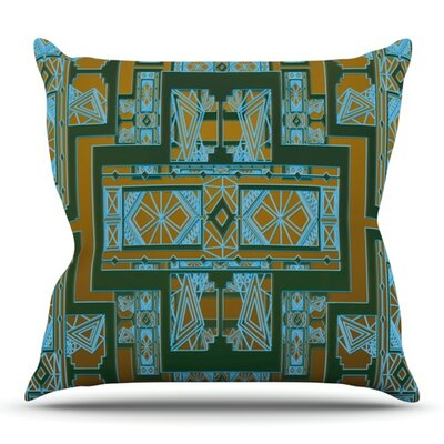 Art Deco by Nika Martinez Outdoor Throw Pillow Color: Blue/Coral