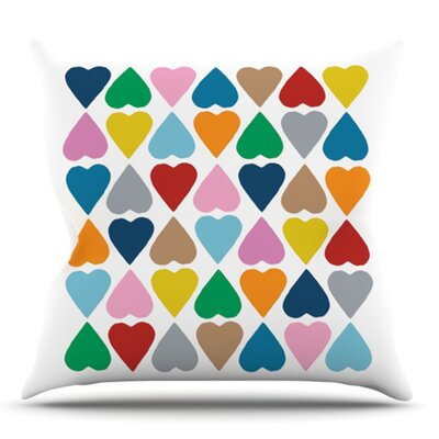Hearts by Project M Outdoor Throw Pillow Color: White