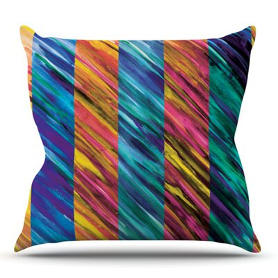Set Stripes by Theresa Giolzetti Outdoor Throw Pillow Color: Green