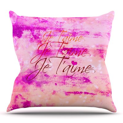 Je Taime II by Ebi Emporium Outdoor Throw Pillow Color: Coral