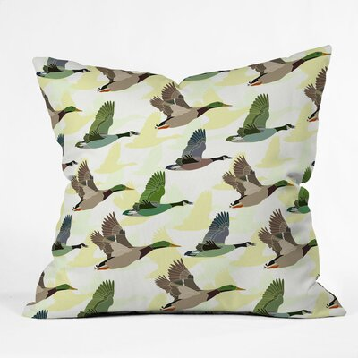 Sabine Reinhart Flying Ducks Polyester Throw Pillow Size: 26 H x 26 W x 7 D