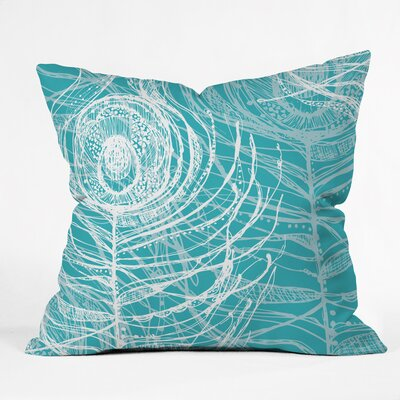 Layered Peacock Feathers Polyester Throw Pillow Size: 16 H x 16 W x 4 D