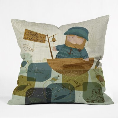 One Fine Fisherman Polyester Throw Pillow Size: 26 H x 26 W x 7 D