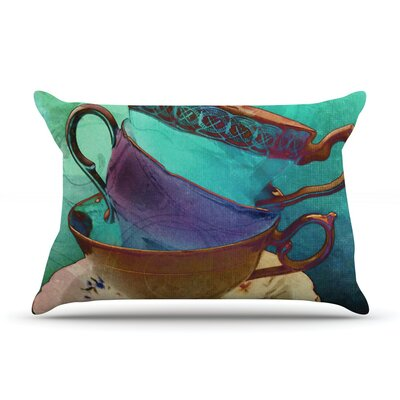 Mad Hatters T-Party I by alyZen Moonshadow Turquoise Featherweight Pillow Sham