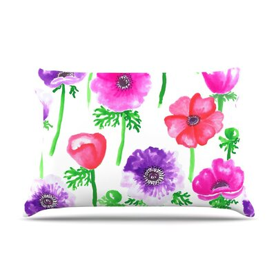 Anemones Flowers by Anneline Sophia Cotton Pillow Sham