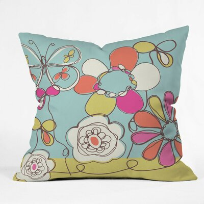 Fun Floral Polyester Throw Pillow