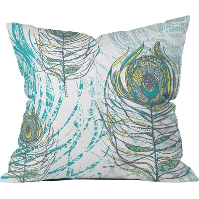 Peacock Feathers Throw Pillow Size: 26 H x 26 W x 7 D