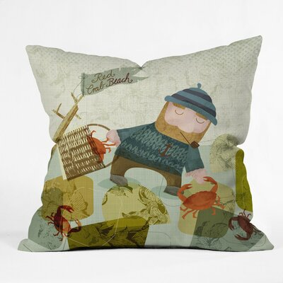 Monday Crab Walk Polyester Throw Pillow Size: 26 H x 26 W x 7 D