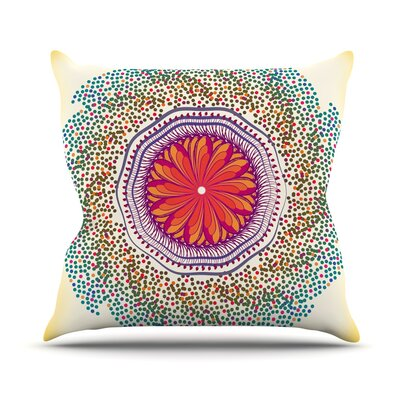 Confetti Dots Mandala by Famenxt Throw Pillow Size: 18 H x 18 W x 3 D