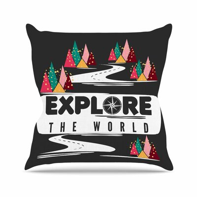 Explore the World by Famenxt Throw Pillow Size: 18