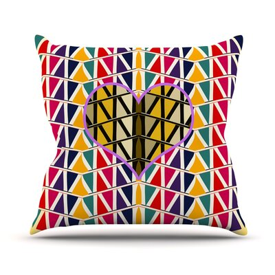 Heart in Abstract Pattern by Famenxt Throw Pillow Size: 16 H x 16 W x 3 D