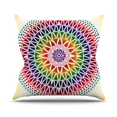 Colorful Vibrant Mandala by Famenxt Throw Pillow Size: 18 H x 18 W x 3 D