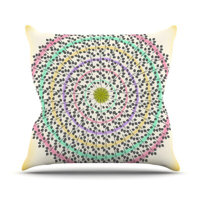 Leafy Watercolor Mandala by Famenxt Throw Pillow Size: 16 H x 16 W x 3 D