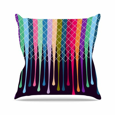 Rainbow Drops by Famenxt Throw Pillow Size: 16 H x 16 W x 3 D
