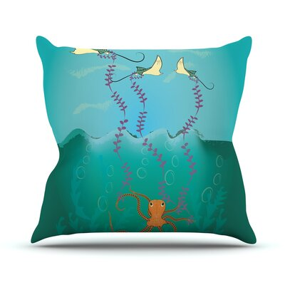 Octopus Flying Manta Rays by Famenxt Throw Pillow Size: 26 H x 26 W x 5 D