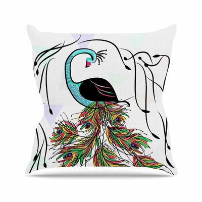 Colorful Peacock by Famenxt Throw Pillow Size: 26 H x 26 W x 5 D