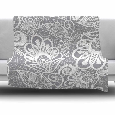 Lace Flowe by Petit Griffin Fleece Blanket Size: 50 W x 60 L