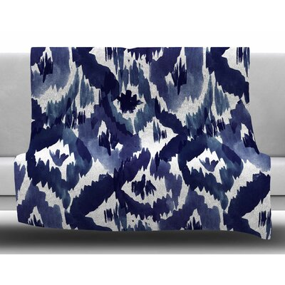 Indigo Ikat by Crystal Walen Fleece Blanket Size: 60 W x 80 L