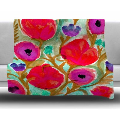 Fiona Flower by Crystal Walen Fleece Blanket Size: 60 W x 80 L