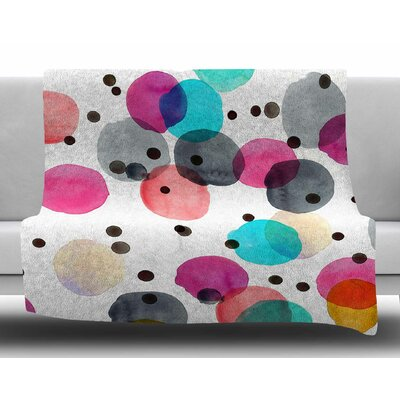 Festive Watercolor Dots by Crystal Walen Fleece Blanket Size: 60 W x 80 L