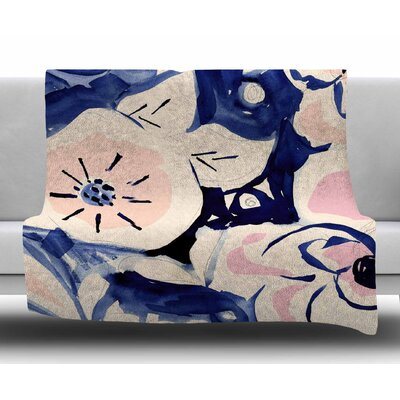 Midnight Moon Flower by Crystal Walen Fleece Blanket Size: 60 W x 80 L