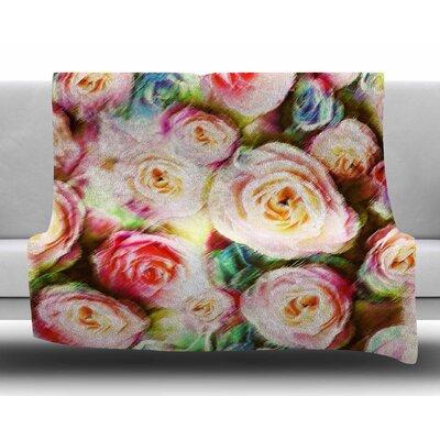 Sweet Rose Flowers by Dawid Roc Fleece Blanket Color: Pastel, Size: 60 W x 80 L