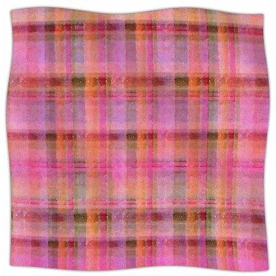 Watercolor Plaid By Carolyn Greifeld Fleece Blanket Color: Pink, Size: 60 L x 50 W x 1 D
