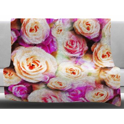 Sweet Rose Flowers by Dawid Roc Fleece Blanket Color: Pink, Size: 50 W x 60 L